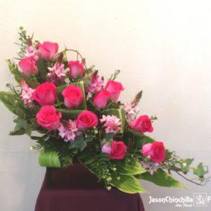 Baul de madera con rosas