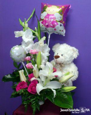Flores peluche y globos