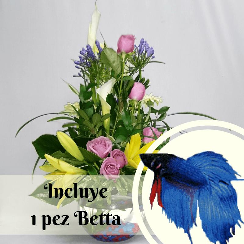Pecera con flores