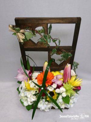 Flores variadas en base de corazón