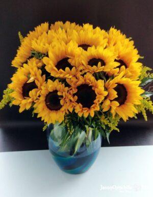 Girasoles en florero
